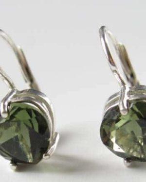 Authentic Heart Shape Faceted Moldavite Earrings (2.1grams) 2
