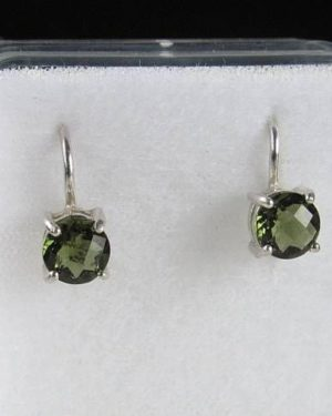 High Quality Moldavite Round Sterling Silver Earrings (1.60grams) 2