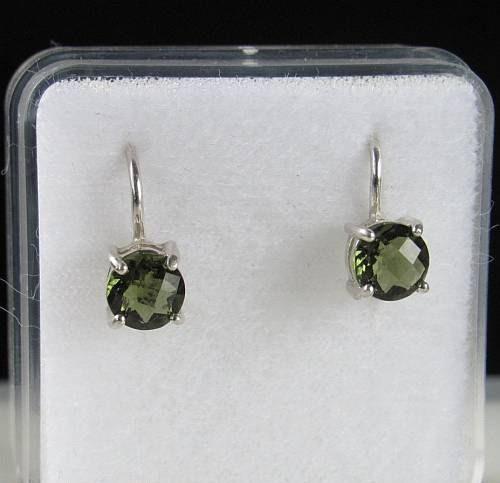 High Quality Moldavite Round Sterling Silver Earrings (1.60grams) 2