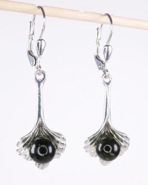 Moldavite Bead Sterling Silver Earrings (4.2grams) 2