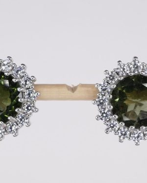 High Quality Faceted Moldavite with Cubic Zirconia Earrings (4.3grams) 2
