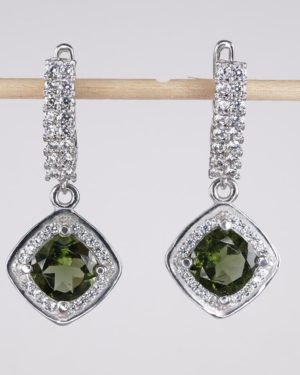 Moldavite with Mutiple Cubic Zirconia Earrings (6.1grams) 2
