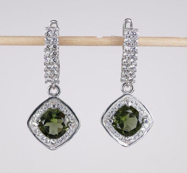 Moldavite with Mutiple Cubic Zirconia Earrings (6.1grams) 2