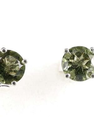 Round Stud Earrings Faceted Moldavite (0.7gram) 2