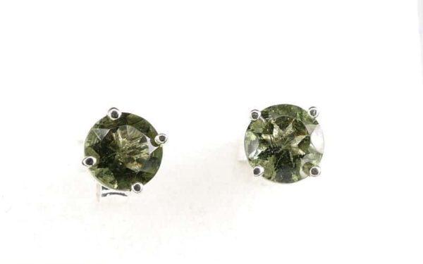 Round Stud Earrings Faceted Moldavite (0.7gram) 2