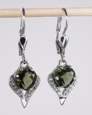 Beauty In Heart Shape Faceted Moldavite With Cubic Zirconia Earrings (3.1grams) 2