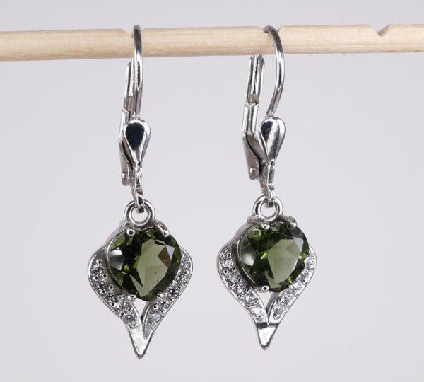 Beauty In Heart Shape Faceted Moldavite With Cubic Zirconia Earrings (3.1grams) 2