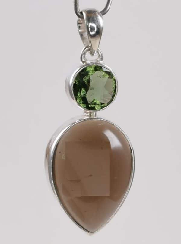 Authentic Moldavite Ring with Smoky Quartz Cabochon Pendant (6.1grams) 2