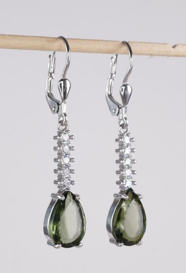 Elegant Faceted Moldavite With Cubic Zirconia Earrings (3.8grams) 2