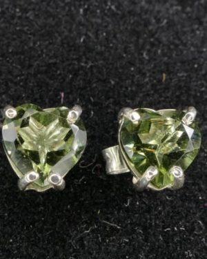 High Quality Heart Shape Moldavite Faceted Stud Earrings (1.0gram) 2