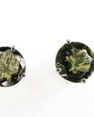 Perfect Round High Quality Moldavite Faceted Stud Earrings (1.0gram) 2
