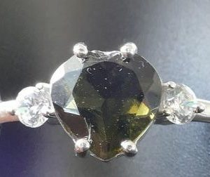 High Quality Faceted Moldavite Heart Shape with Zircon Ring (2.2grams) Ring Size: 58 (8.5 US) 2
