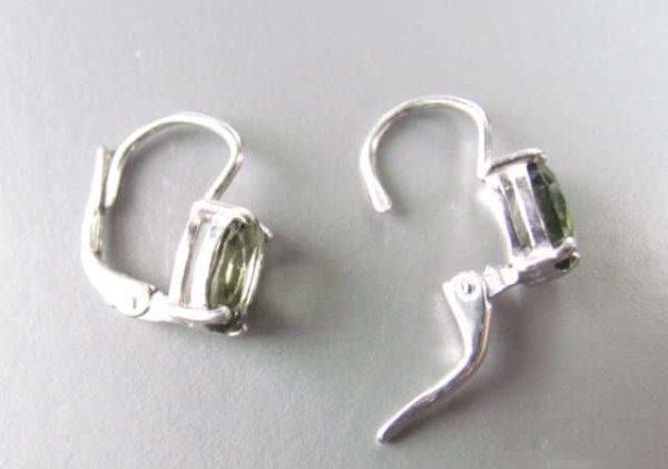 Authentic Moldavite Oval Shape Faceted Earrings (1.8grams) 2