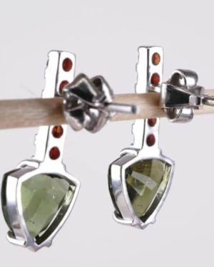 High Quality Moldavite with Elegant Red Garnets Sterling Silver Earrings (2.3grams) 2
