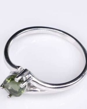 High Quality Faceted Moldavite Ring (1.7grams) Ring Size: 54 (US 7) 2