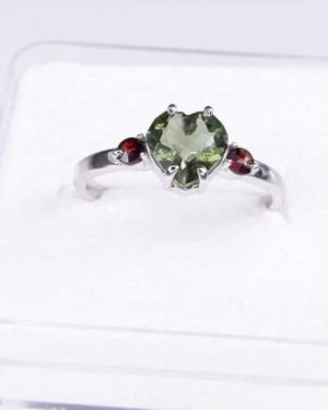 Heart Shape Faceted Moldavite Ring (1.9grams) Ring Size: 58 (8.5 US) 2