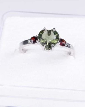 Heart Shape Faceted Moldavite Ring (1.9grams) Ring Size: 56 (7.75 US) 2