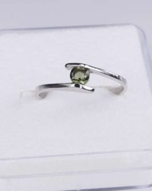 Faceted Round Moldavite Ring (1.2grams) Ring Size: 53 (6.5 US) 2