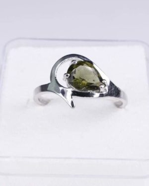 Unique Faceted Moldavite Ring (2.2grams) Ring Size: 55 (7.5 US) 2