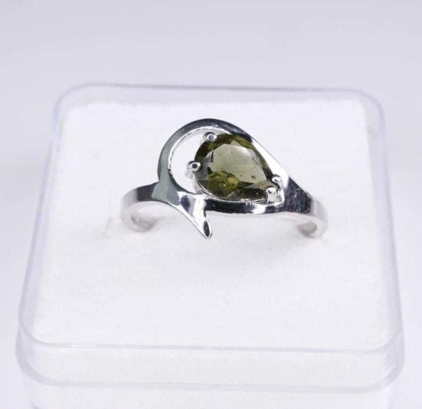 Unique Faceted Moldavite Ring (2.2grams) Ring Size: 55 (7.5 US) 2
