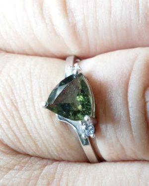 Faceted Moldavite Ring With Zircon (1.9grams) Ring Size: 58 (8.5 US) 2