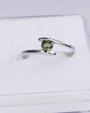 Faceted Round Moldavite Ring (1.2grams) Ring Size: 52 (6.25 US) 2