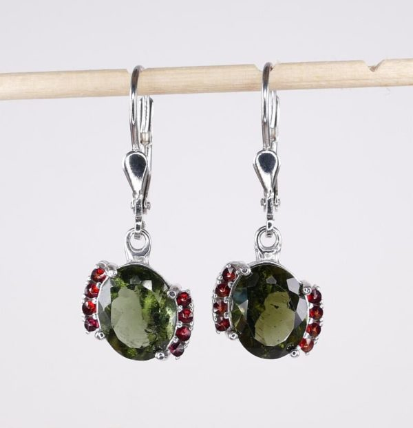Moldavite Earrings With Cubic Zirconia With Certificate Of Authenticity (3.4grams) 2