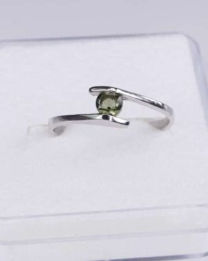 Faceted Round Moldavite Ring (1.2grams) Ring Size: 51 (5.88 US) 2