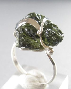 Natural Raw Shape Moldavite Ring (3.2grams) Ring Size: 56 (7.75 US) 2