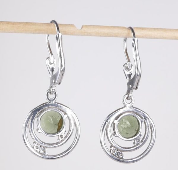 Rare Design With Round Cut Cubic Zirconia - Moldavite Earrings With Certificate Of Authenticity (3.4grams) 2