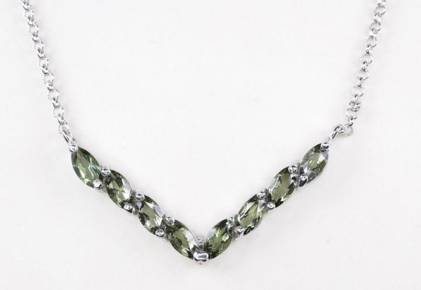 8 Faceted Moldavites Sterling Silver Necklace with Certificate Authenticity (4grams) 2