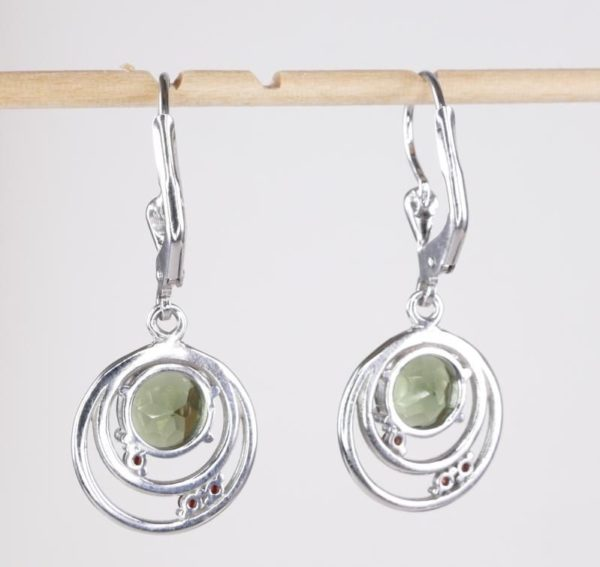 Faceted Moldavite Round Cut Garnet Sterling Silver Earrings with Certificate of Authenticity (3.4grams) 2