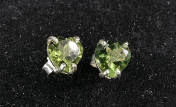 Faceted Moldavite Heart Shape Stud Earrings with Certificate of Authenticity (1.3grams) 2