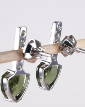 Faceted Moldavite Sterling Silver Earrings With Cubic Zirconia with Certificate of Authenticity (3.1grams) 2