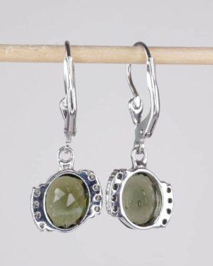 Moldavite Earrings With Cubic Zirconia (3.2grams) 2