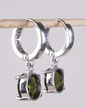 Round Faceted Moldavite With Cubic Zirconia Earrings with Certificate of Authenticity (4.7grams) 2