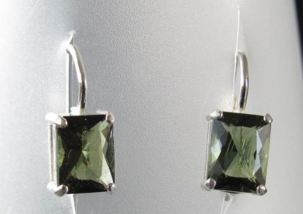 Rectangle Shape Moldavite Faceted Sterling Silver Earrings with Certificate of Authenticity (2.6grams) 2