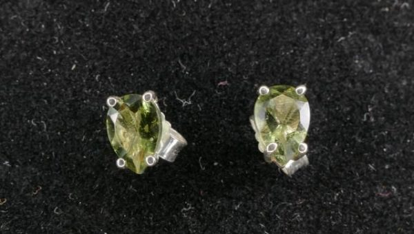 Pear Cut Moldavite Stud Earrings (0.7grams) 2