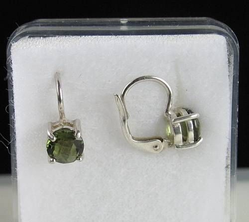 High Quality Moldavite Round Sterling Silver Earrings (1.60grams) 3