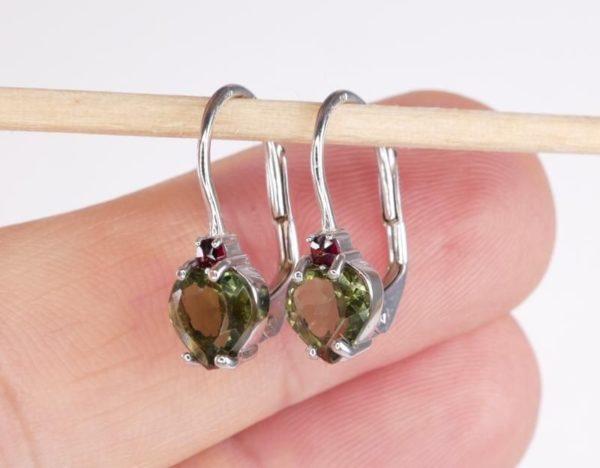 Heart Shape High Quality Grade Faceted Moldavite Earrings (1.6grams) 3