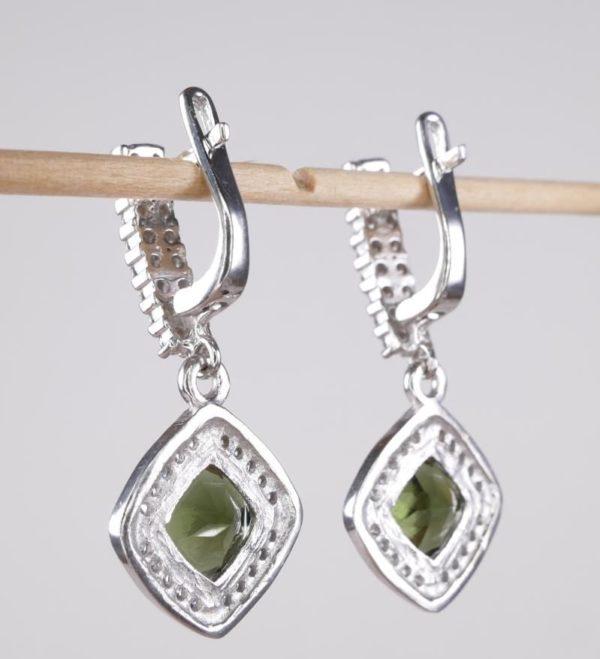 Moldavite with Mutiple Cubic Zirconia Earrings (6.1grams) 3