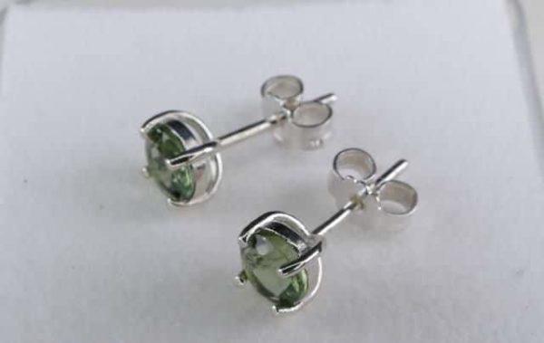Round Stud Earrings Faceted Moldavite (0.7gram) 3
