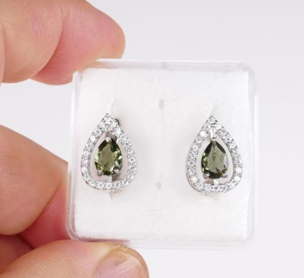 High Quality Facted Moldavite With Cubic Zirconia (Pear Cut) Earrings (3.9grams) 3