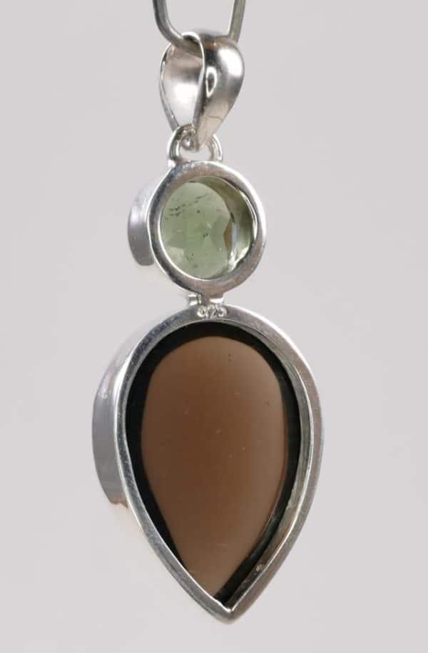 Authentic Moldavite Ring with Smoky Quartz Cabochon Pendant (6.1grams) 3
