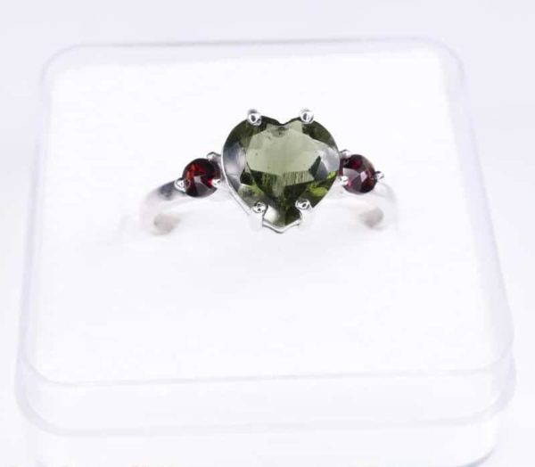 High Quality Faceted Moldavite Heart Shape Ring With Red Zircon (1.9grams) Ring Size: 56 (7.75 US) 3