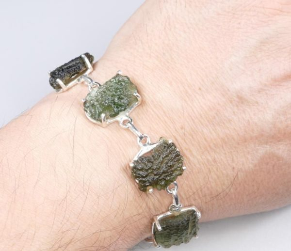 Rare and Unique Made Raw Moldavite Bracelet (15.8grams) 3