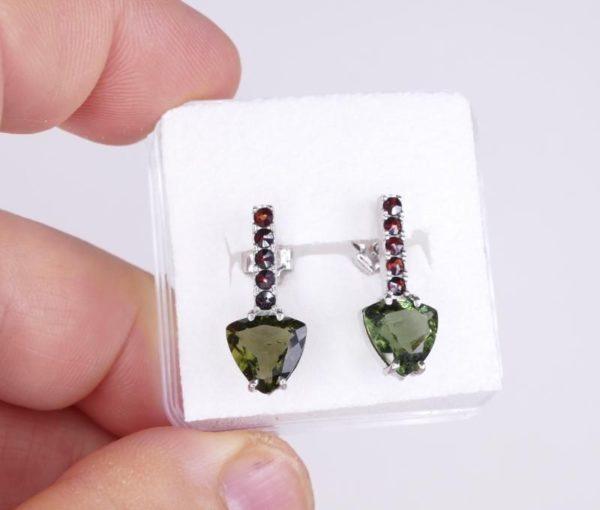 High Quality Moldavite with Elegant Red Garnets Sterling Silver Earrings (2.3grams) 3
