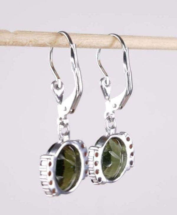 Moldavite Earrings With Cubic Zirconia With Certificate Of Authenticity (3.4grams) 3