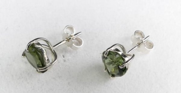 Faceted Moldavite Heart Shape Stud Earrings with Certificate of Authenticity (1.3grams) 3