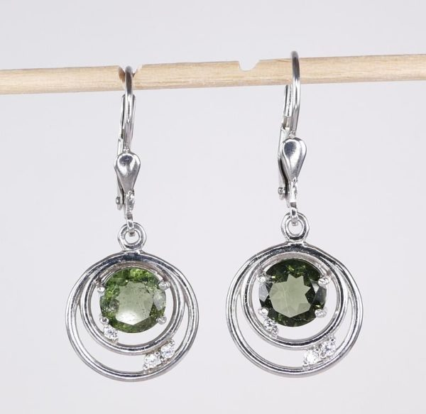 Rare Design With Round Cut Cubic Zirconia - Moldavite Earrings With Certificate Of Authenticity (3.4grams) 3